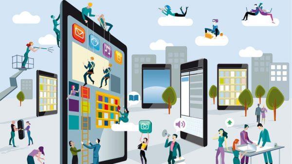 Comunicação interna representada num desenho de uma cidade estilizada com tablets e smartphones gigantes