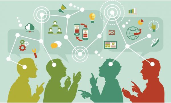 Comunicação interna representada em desenho com várias pessoas e balões com ferramentas de comunicação