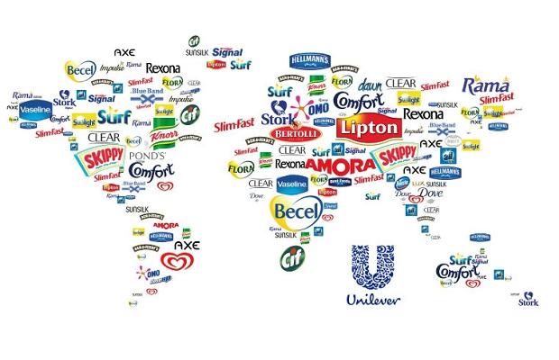 Mapa das marcas da Unilever ao redor do mundo.