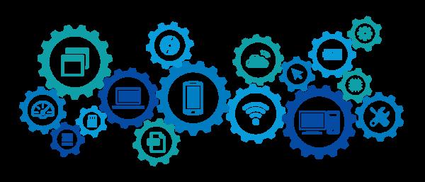 Várias engrenagens azuis com ícones de tecnologia representando sistemas de gestão para o varejo