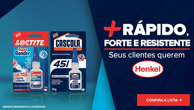 Vender mais com Henkel: Um banner promocional com Cascola Instantânea e Super Bonder