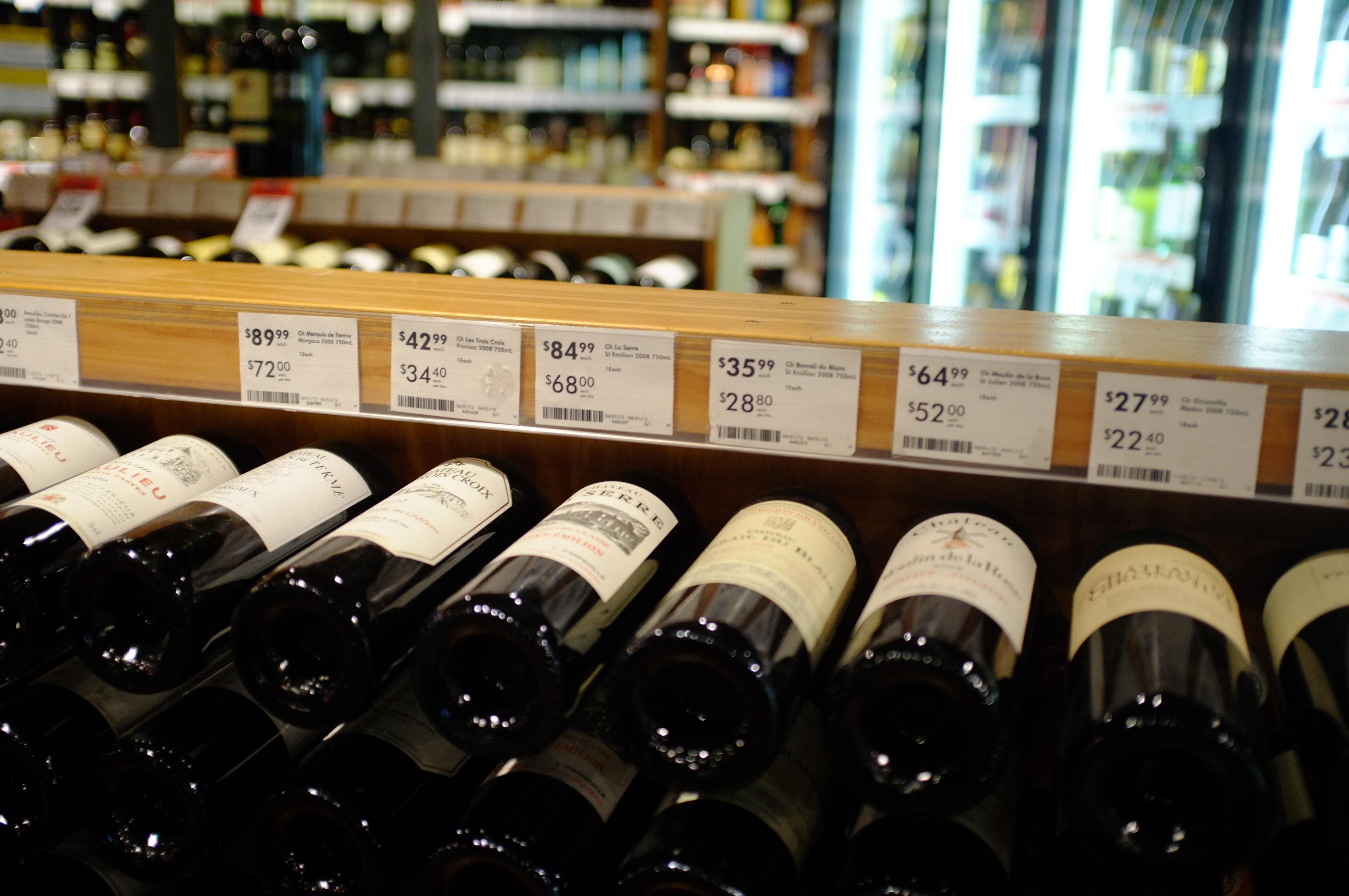 precificação no varejo: vinhos em prateleira com preços