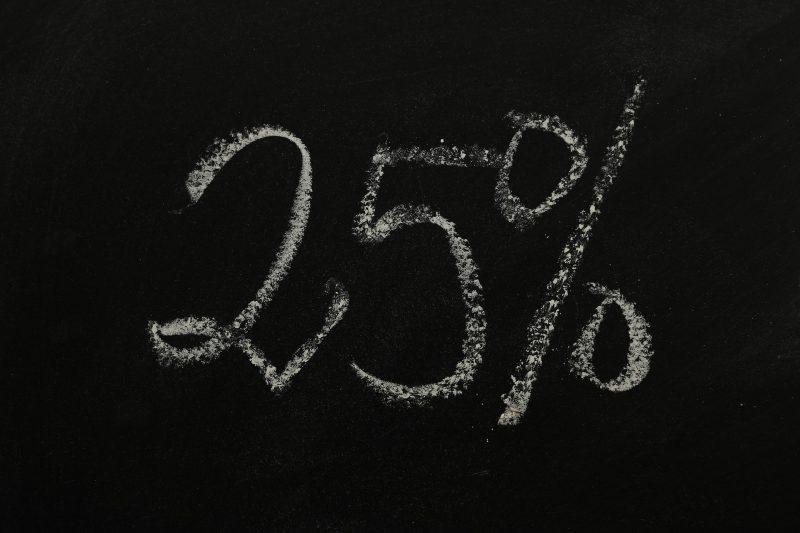 campanha de black friday: quadro negro com 25% escrito em giz.
