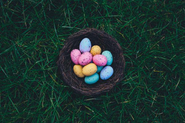 Ovos de galinha coloridos dentro de um ninho sobre a grama.