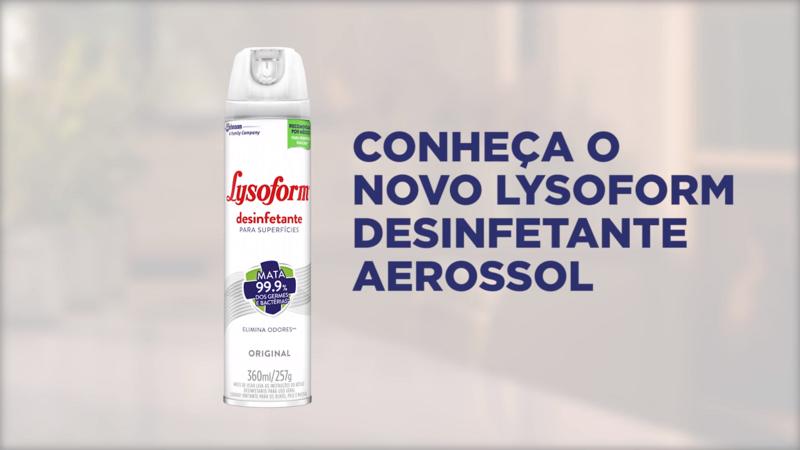 """Banner publicitário com Lysoform Aerossol e o texto """"Conheça o novo Lysoform desinfetante aerossol"""""""