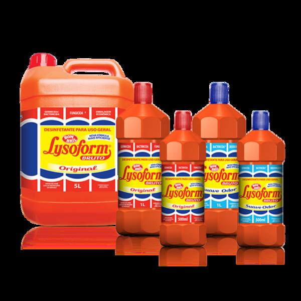 Garrafas de Lysoform alinhadas, duas de 500ml, duas de 1 litro, uma de 5 litros.