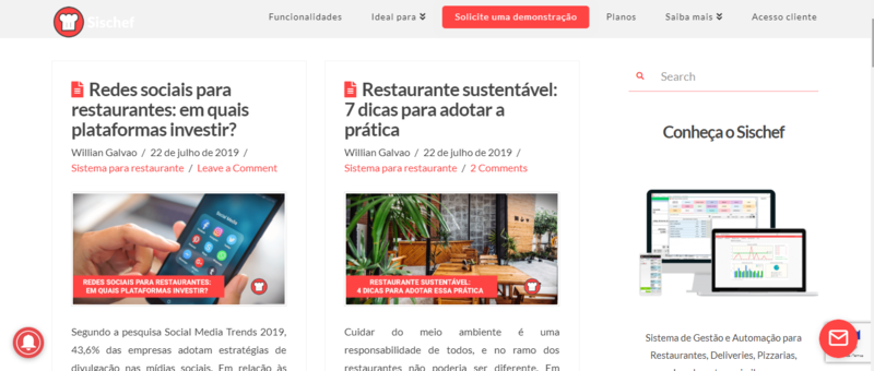 Print Screen de uma tela do Sischef, blog sobre restaurantes.