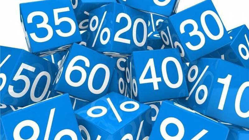Blocos azuis mostrando diferentes porcentagens de desconto