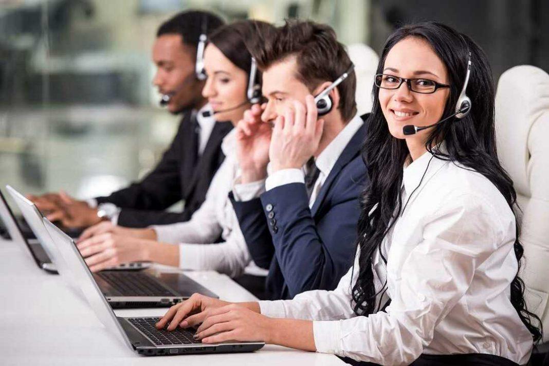 Equipe de vendas por telefone