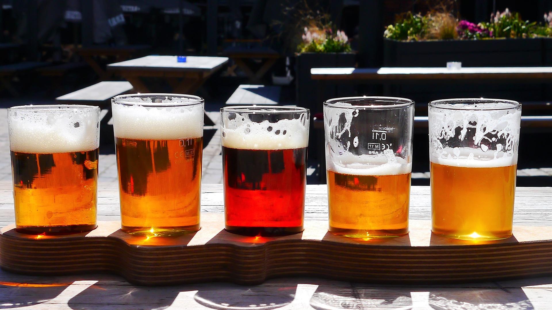 Bandeja com cinco copos de cerveja