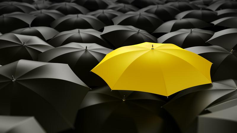 Um guarda-chuva amarelo no meio de vários guarda-chuvas pretos