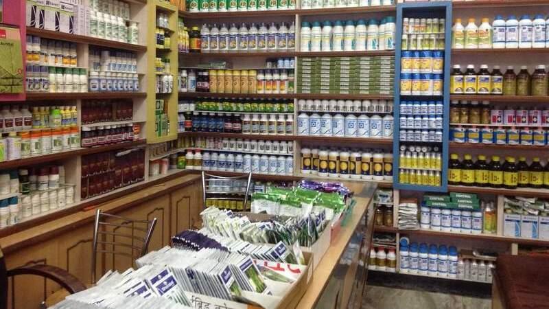 Uma loja de agropecuária com sementes dispostas sobre um balcão e prateleiras nas paredes cheias de produtos diferentes.