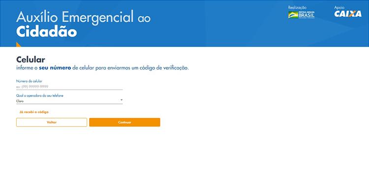 Página de cadastro do auxílio emergencial da Caixa com ficha de preenchimento do celular para verificação de número.