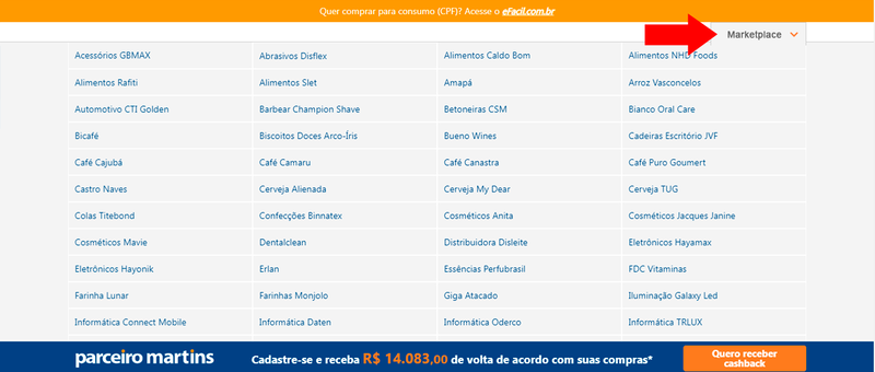 Tabela com as lojas parceiras disponíveis no Marketplace do Martins Atacado