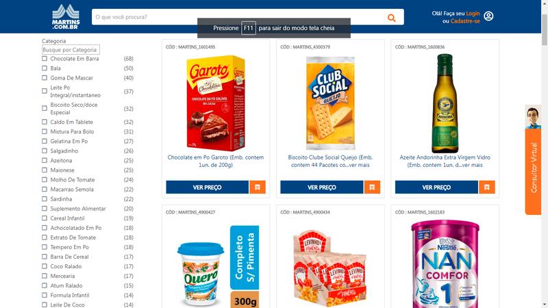 """Categoria """"Mercearia"""" do site Martins.com.br. A imagem apresenta leite em pó, chocolate em pó, requeijão, azeite e bolachas."""