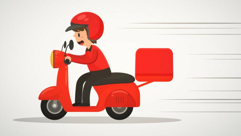 Ilustração vetorizada de entregador vestido de vermelho dirigindo moto vermelha com caixa de transporte acoplada.