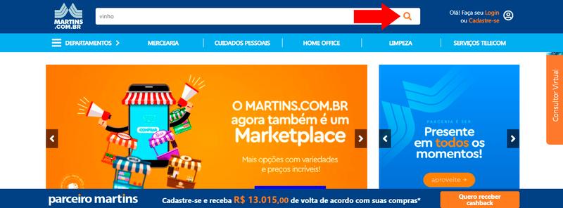 Página inicial do site do marketplace do Martins Atacado.