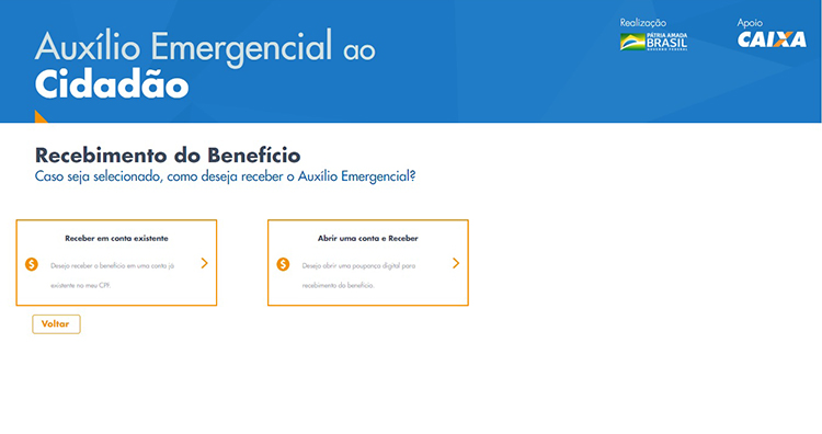 Página de cadastro do auxílio emergencial da Caixa com duas opções de seleção para receber o benefício.