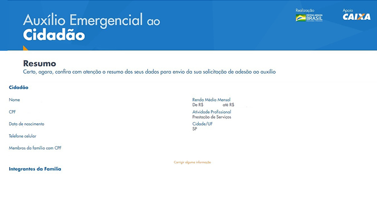 Página de cadastro do auxílio emergencial da Caixa com resumo dos dados informados pelo usuário para verificação.