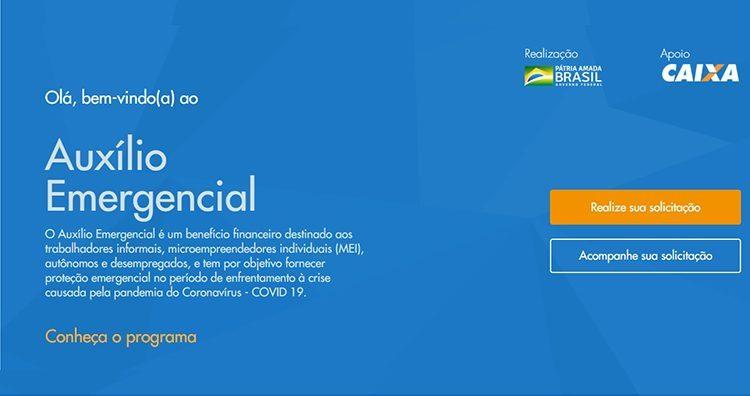 Interface do site da caixa econômica federal com fundo azul e informações iniciais sobre auxílio emergencial.