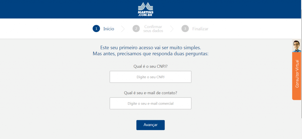 Tela de cadastro no Martins Atacado com espaço para inserir CNPJ e e-mail.