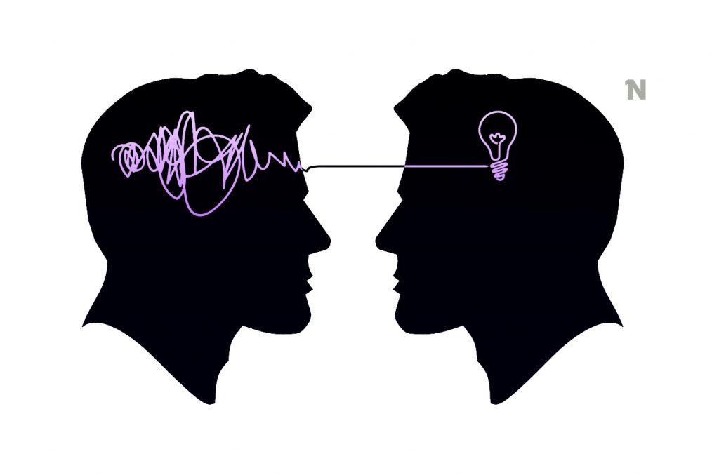 Desenho de 2 perfis em preto. Uma linha de pensamento lilás passa pela cabeça de um até formar uma lâmpada na cabeça do outro.