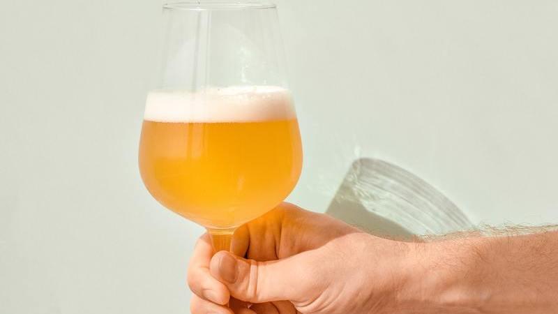 Braço de uma pessoa segurando uma taça, em formato tulipa, com cerveja dentro.