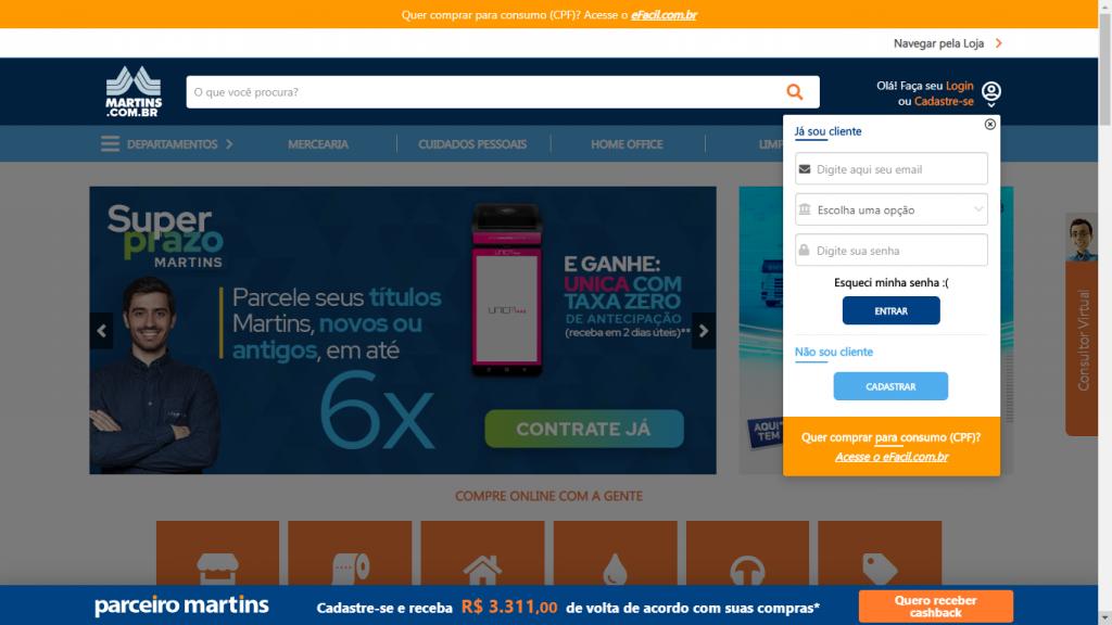 Página de login do site do Martins.com.br