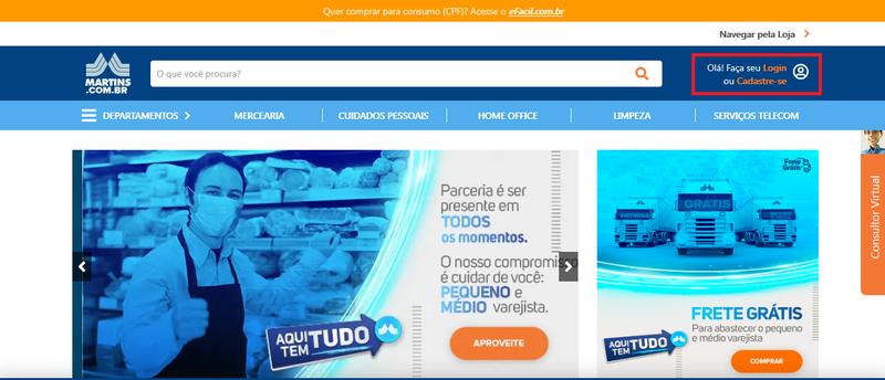 Página inicial do site do Martins.com.br
