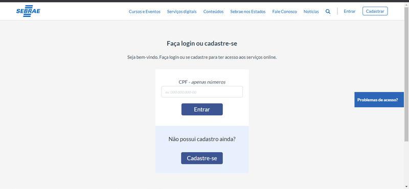 Página de login do site do SEBRAE.