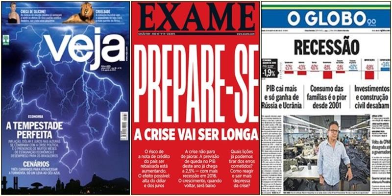 Capas de revista Veja, Exame e do jornal O Globo sobre a crise de 16