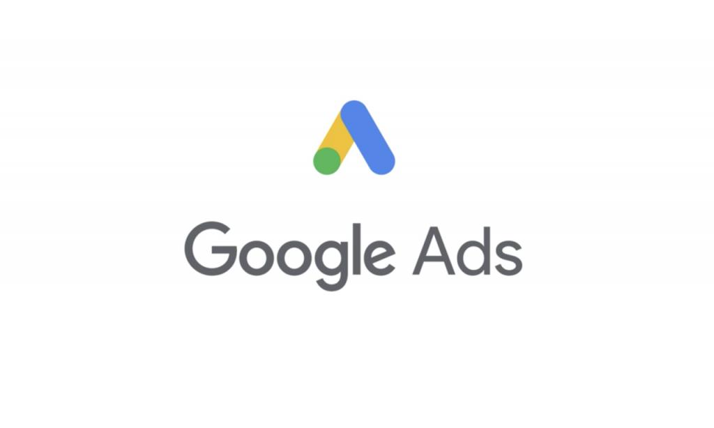 Identidade visual do Google Ads, nas cores azul, amarelo e verde