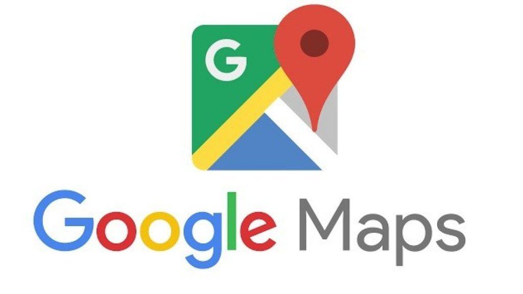 Identidade visual do Google Maps. Acima logo nas cores verde, amarelo, azul e cinza com localizador vermelho.