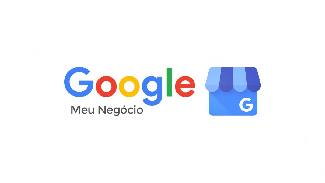 """Identidade visual do Google Meu Negócio. Ao lado, uma ilustração de loja com toldo azul e letra """"G"""" do google."""