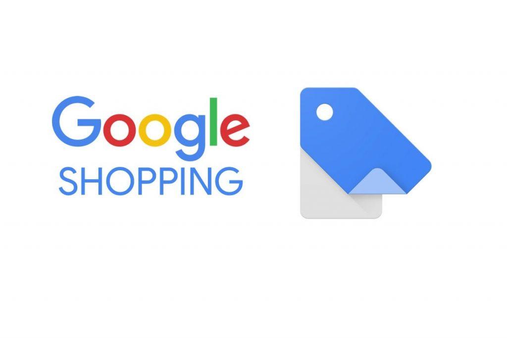 Identidade visual do Google Shopping. Ao lado, um ícone de etiqueta azul e cinza