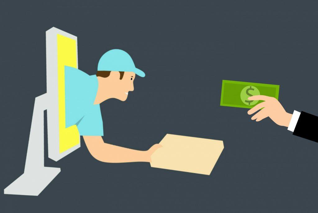 Ilustração de pessoa saindo da tela de computador segurando caixa e mão humana estendida segurando uma nota de dinheiro.