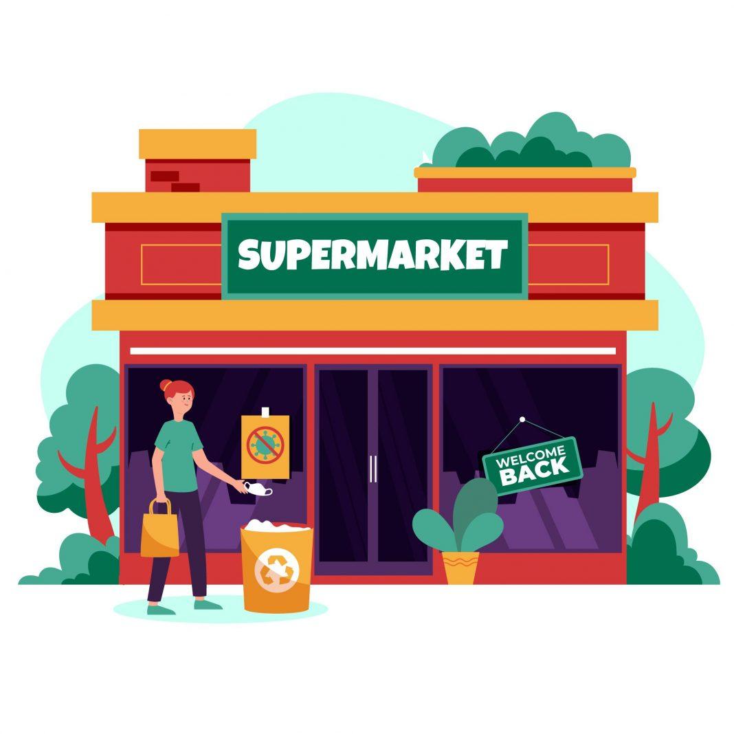 """Ilustração de fachada de supermercado. Uma pessoa joga máscara na lixeira, em um cartaz está escrito """"Bem vindo de volta""""."""