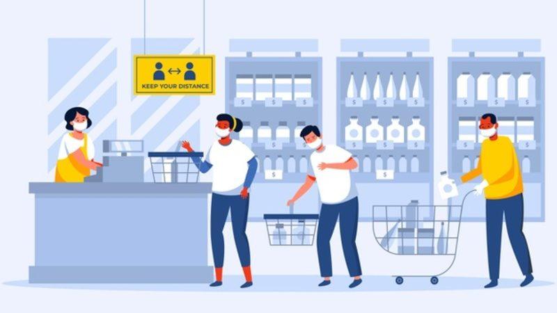 Desenho vetorizado de caixa de supermercado com pessoas usando máscaras na fila