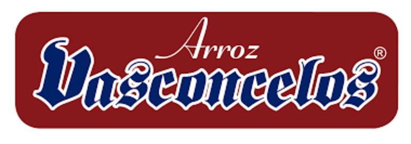 Logomarca Arroz Vasconcelos nas cores branco e azul, num fundo vermelho.
