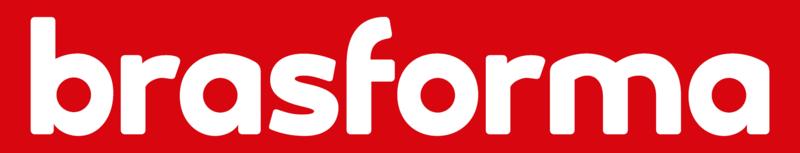 Logomarca da Brasforma em branco dentro de retângulo vermelho sobre fundo cinza. Abaixo, bandeira do Brasil centralizada.