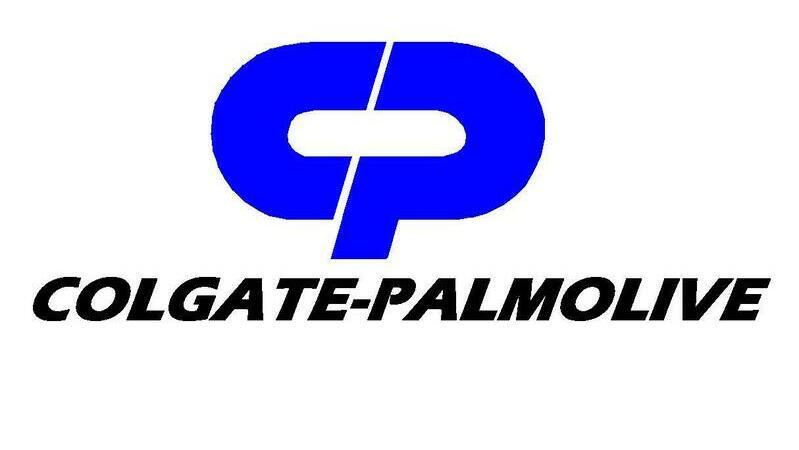 Logomarca da Colgate-Palmolive em preto e azul sobre fundo branco.