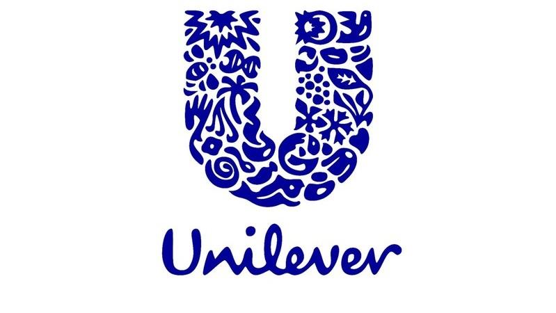 Logomarca da Unilever em azul sobre fundo branco