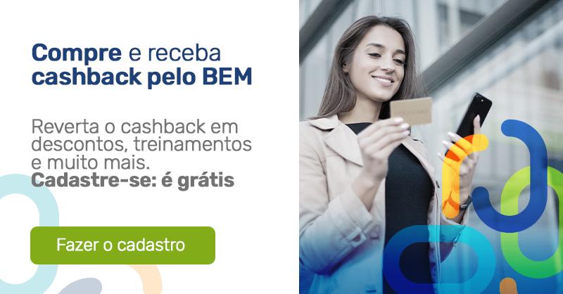 Banner divulgação BEM do Martins. Imagem de mulher segurando cartão e ao lado o texto: Compre e receba cashback pelo BEM.