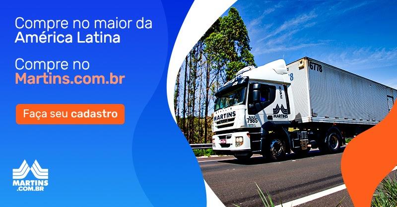 Banner com caminhão do Martins. Ao lado, texto: compre no maior da América Latina. Compre no Martins.com.br. Faça seu cadastro.