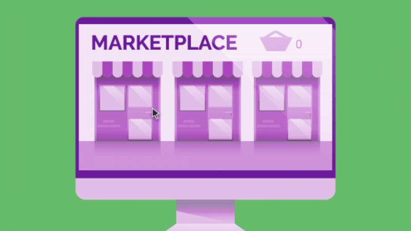 ilustração com fundo verde de uma tela de monitor de marketplace