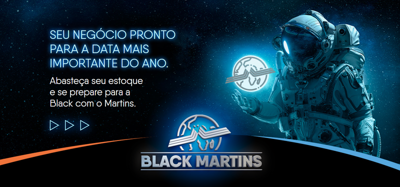 interface da landing page da Jornada Black Friday do Martins Atacadista com a figura de um astronauta próximo da logomarca do Martins