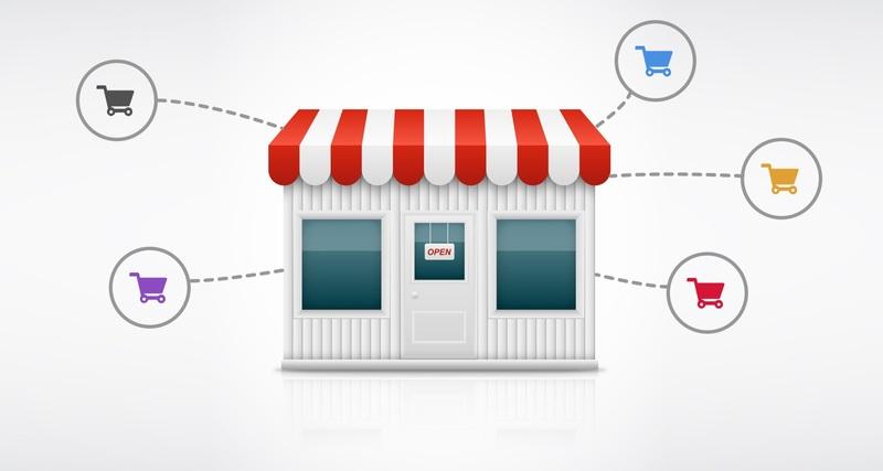imagem vetorizada de fachada de loja com ícones de carrinho de compras conectados ao estabelecimento por linhas pontilhadas.