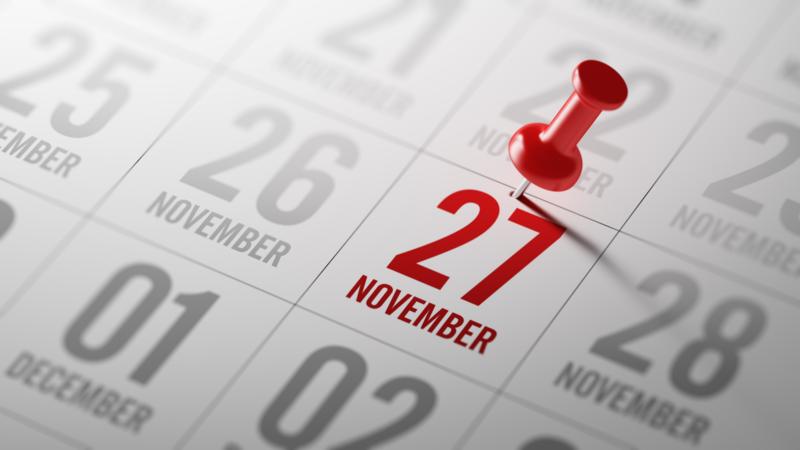 calendário do mês de novembro com a área do dia 27 marcada com alfinete vermelho