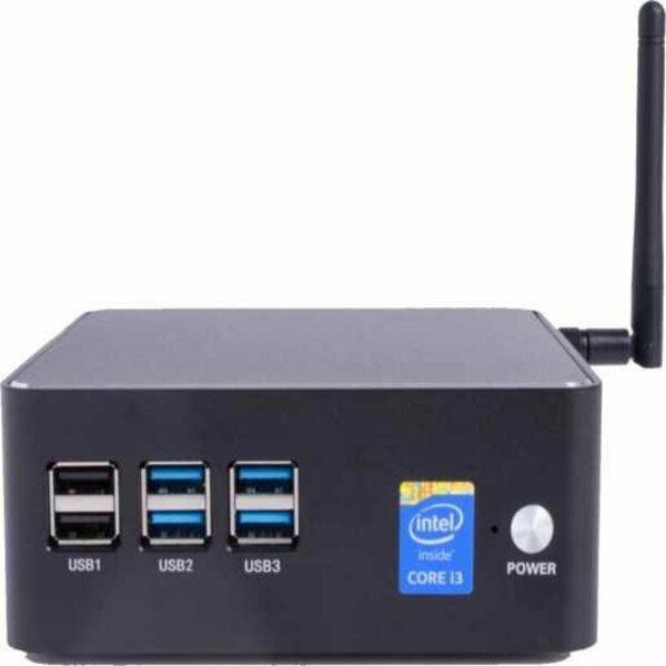 """Mini PC Everex com 6 entradas USB e adesivo com """"Core I3"""" escrito"""
