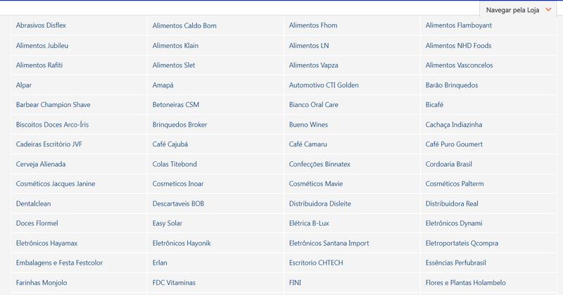 Seção de lojas parceiras no site do Martins.com.br.